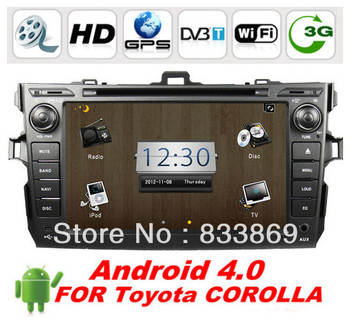 "Android 4.0 HD 8 "" 2Din Car DVD Player GPS For Toyota Corolla 2006-2011 With 3D UI PIP TV BT IPOD Radio/RDS AUX IN 3G/WIFI"