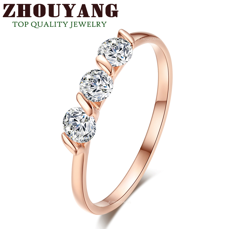 Top Quality Concise Crystal Ring 18K Rose Gold Plated Austrian Crystals Full Sizes Wholesale ZYR067 ZYR068(China (Mainland))