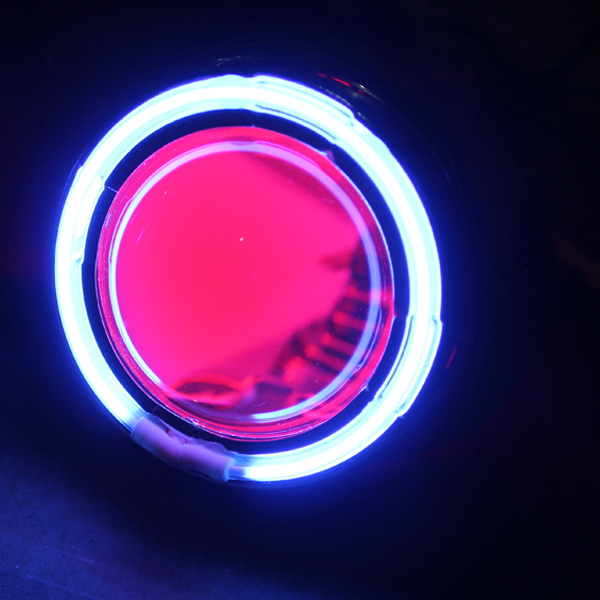 Bifocal modified car angel eye lens headlight assembly blue angel eyes red evil eye(China (Mainland))