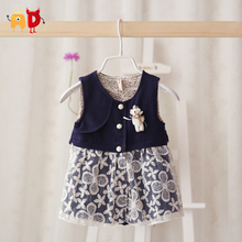 AD 10-24M Cute Bear Brooch Baby Girls Dress Spring Autumn Winter Toddler Baby's Dresses Kids Children's Clothing Clothes Formal(China (Mainland))