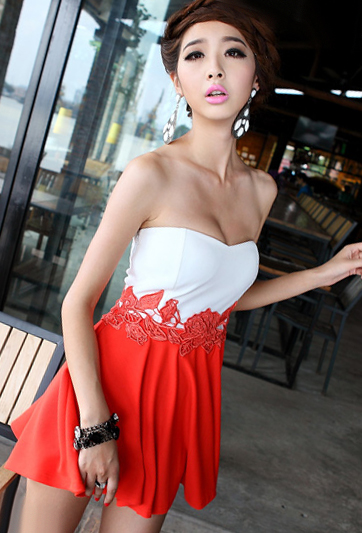 New arrival women's sexy low-cut one-piece dress slit neckline expansion dress miniskirt bottom(China (Mainland))