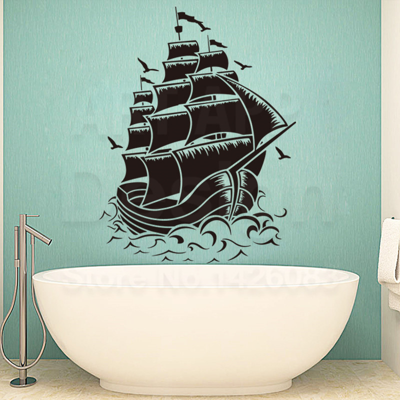 New design home decoration vinyl sailing boat Wall Stickers colorful Cheap PVC ship in the sea decals for house decor in rooms(China (Mainland))
