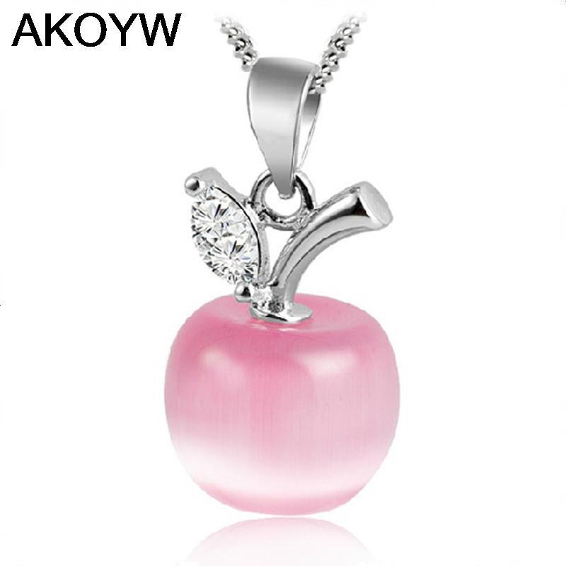 Гаджет  S925 sterling silver necklace rhodium quality opal apple Ms. Fashion Jewelry Silver Moonstone pendant jewelry None Ювелирные изделия и часы