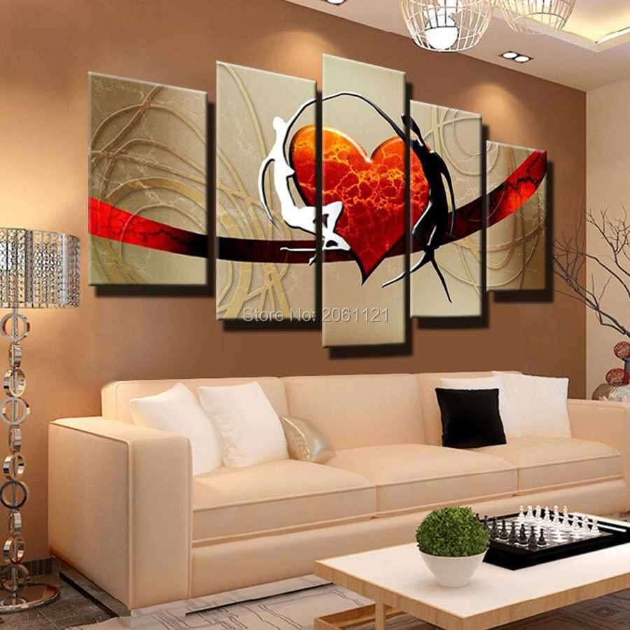 Hand painted warm family couple oil painting abstract - Decoracion con cuadros modernos ...