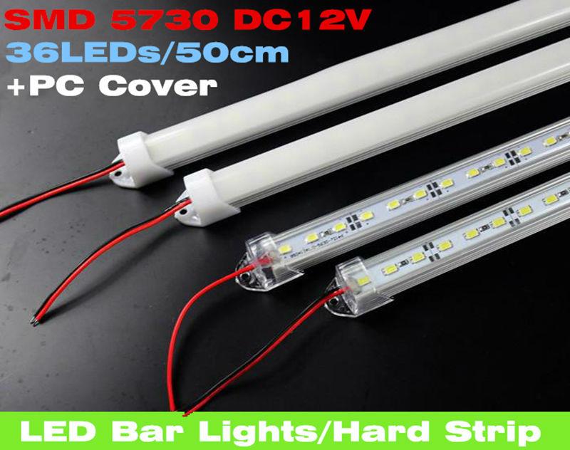 Гаджет  10pcs*50cm Factory Wholesale 50CM DC 12V 36 SMD 5730 LED Hard Rigid LED Strip Bar Light,red/blue,green color+ U Aluminium +Cover None Свет и освещение