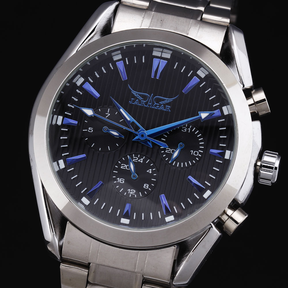 Gorgeous Stainless Steel Men's Casual Watches Men Luxury Brand Fashion Calendar Dial Design Hand Wind Mechanical Watch Relojes(China (Mainland))