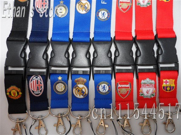 Free Shipping National Soccer key lanyard football neck strap for ID holder Mix order(China (Mainland))