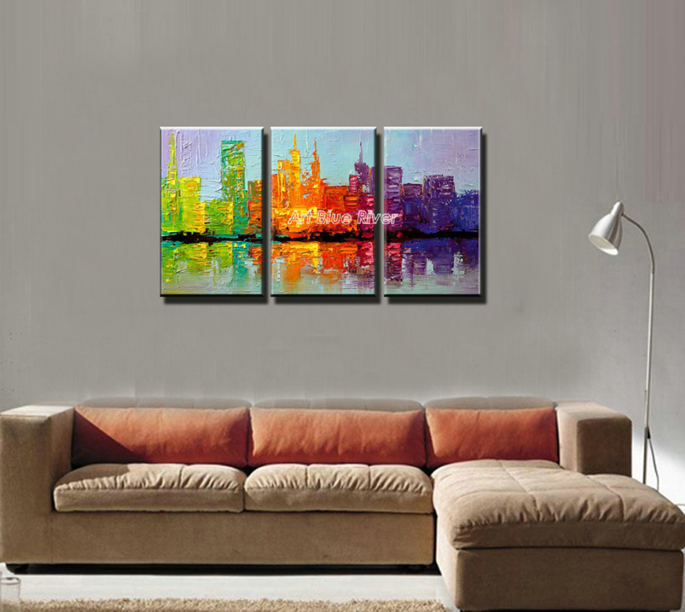 Buy 3 piece beautiful abstract handmade canvas art New York city knife oil painting on canvas for living room wall picture decor cheap