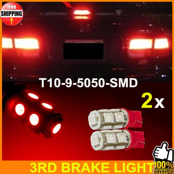 2pcs Super Bright Red 3RD BRAKE LIGHT LED HIGH MOUNT UPPER CENTER STOP BULB LAMP BREAK THIRD 192 168 194 T10 W5W 2825 158 9SMD(China (Mainland))