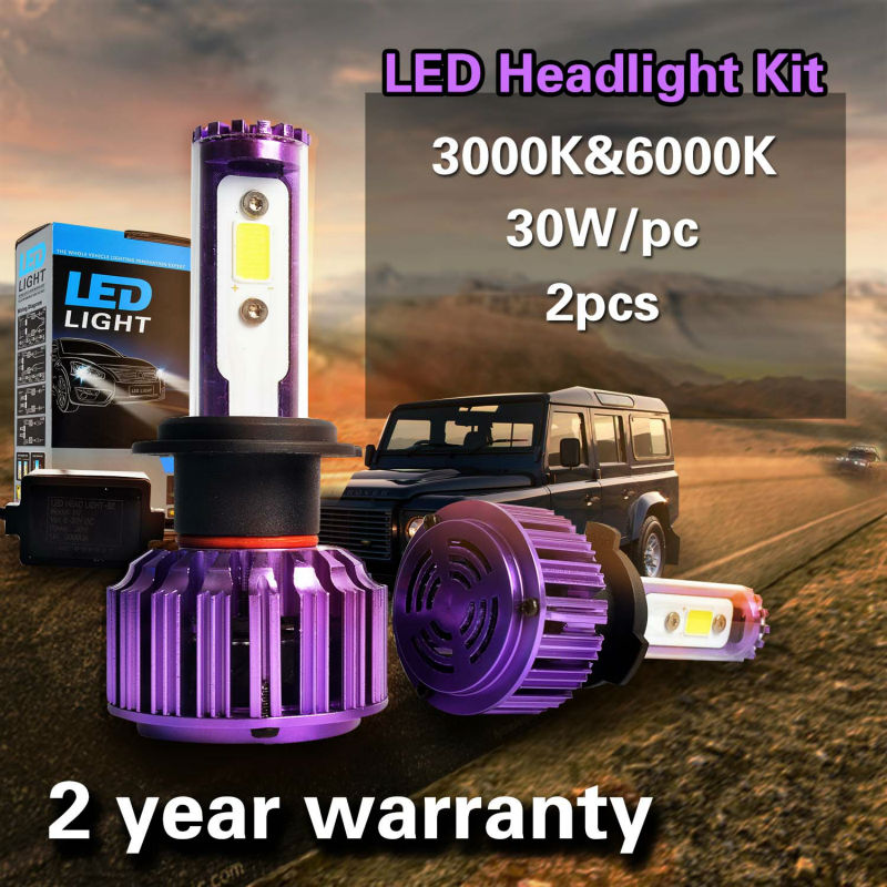 Taitian LED Headlight Bulbs Kit - H7- 60w 6,000Lm 6K Cool White - 3K Yellow color For Fog DRL Replace Light Source Driving Bulbs