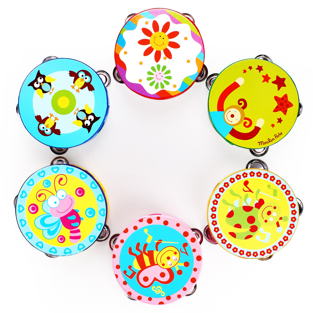 Cartoon hand drum rattles, tambourine darnings infant musical instrument orff instruments toys,baby tambourine toy, Senses toys(China (Mainland))