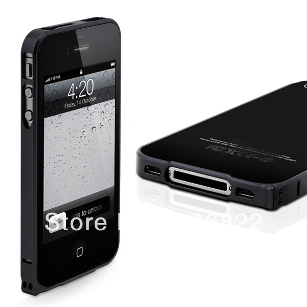 Black Ultra-thin 0.7mm Aluminum Metal Blade Bumper Frame Case for iPhone 4 4S DC1316B(China (Mainland))