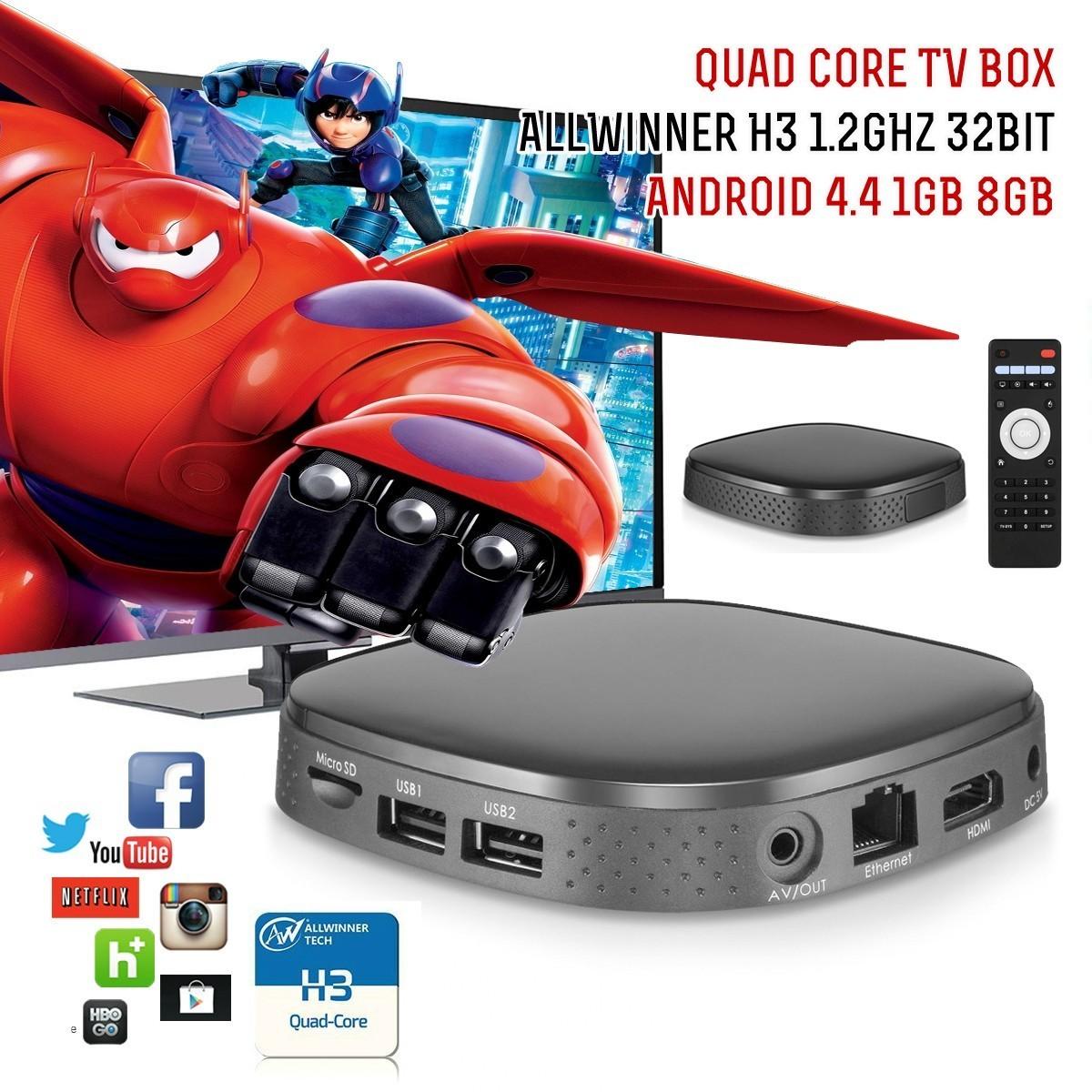 10pcs/lot AllWinner H3 1GB 8GB HDMI WIFI DLNA TV Box Quad Core TV Box Mini Android 4.4 TV Box Multi-language Remote Control