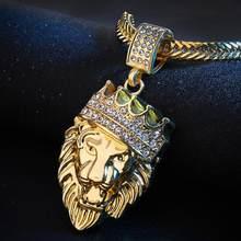 חדש סגנון Mens שרשרת מלא אייס מתוך ריינסטון האריה תליון קובני שרשרת מומנט היפ הופ שרשראות קולר תכשיטים # ZA(China)