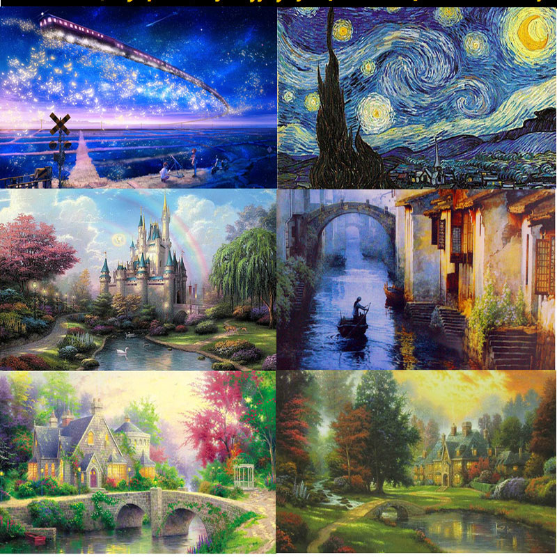 Free Shipping 2015 Hot Sales 1000 pieces puzzles Landscape puzzle People Adult And Children puzzles Educational Toys P001(China (Mainland))