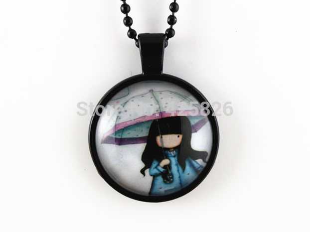 2pcs Cut Girl pendant necklace glass cabochon necklace Black necklace women necklace jewelry fashion HN 01