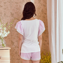 Sweet song Riel fashion casual short sleeved shorts pajamas suit tracksuit Ms Waichuan the high balcony