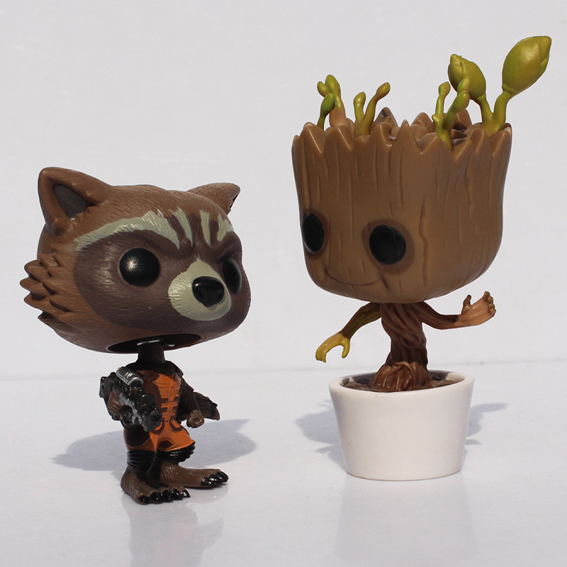 EMS 10pcs 8-10cm Funko POP Guardians of the Galaxy Tree People Groot &amp; Rocket Raccoon PVC Figure Dolls With Box<br><br>Aliexpress