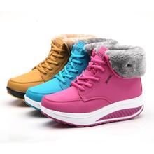 Zapatos del oscilación Otoño Invierno mujer Botas de Nieve de Algodón Acolchado, además de terciopelo Cálido zapatos de plataforma tacones altos cuñas botas zapatos de la nieve(China (Mainland))