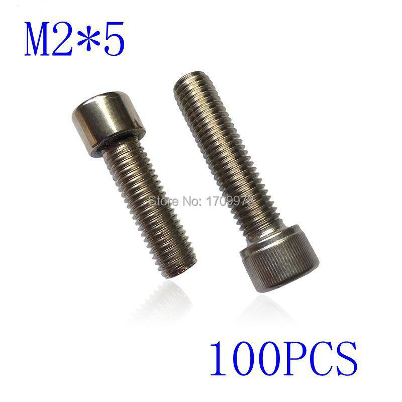 Гаджет  Free shipping  Metric Thread M2*5mm Stainless Steel Hex Socket Bolt Screws 100 pieces None Аппаратные средства