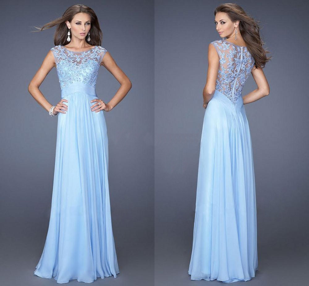 Light blue hollow out lace evening long dress for women for Womens dresses for weddings
