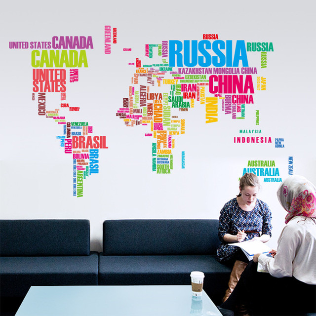 colorful letters world map wall stickers living room home decorations creative pvc decal mural art diy aliexpresscom buy office decoration diy wall