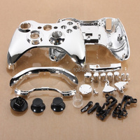 Silver Chrome Full Housing Shell Case +button set for Xbox 360 Wireless Controller