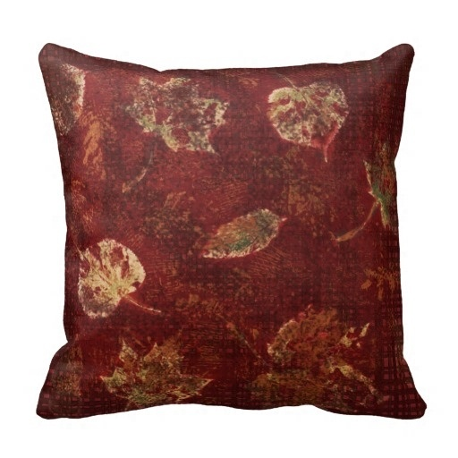 Active Deep Maroon Gold Fall Leaves Stencil Subtle font b Tartan b font Pillow Case Size