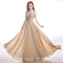 Strapless Robe De Soiree Long Evening Dress Chiffon Elegant Long Evening Gowns Hot Sale Party Dresses For Lady SH0514(China (Mainland))