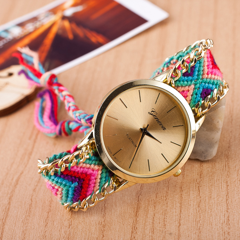 2015 New fashion cute handcrafted Woven quartz watch geneva famous brand gold dial clock women casual wristwatches(China (Mainland))
