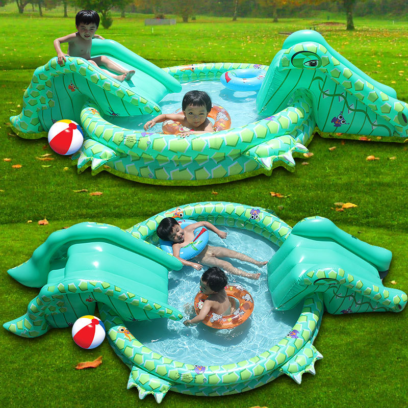 item  new big inflatable Crocodile Sildes baby pool have fun shipping free