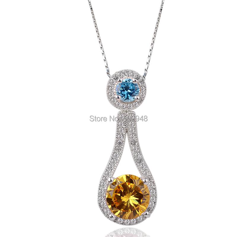 Lady Round White Topaz Pink CZ\Yellow Citrine\Black Onxy\White\Blue Topaz Pink CZ Sterling Silver 925 Pendant Necklace NAL P068(China (Mainland))