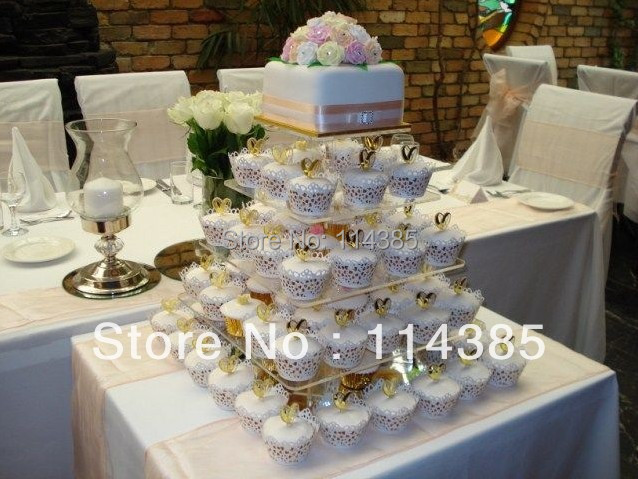 5 tier square acrylic cupcake stand, 5 tier square wedding cupcake stand, 5 tier perspex cake stand