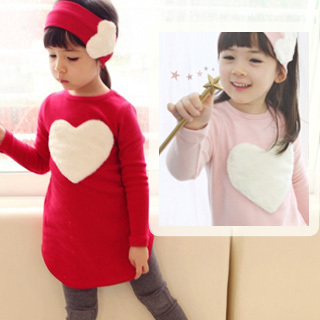 New Casual Children'S Sets Models Girl Love Decoration Tops+Pants Head Kids Clothes(China (Mainland))