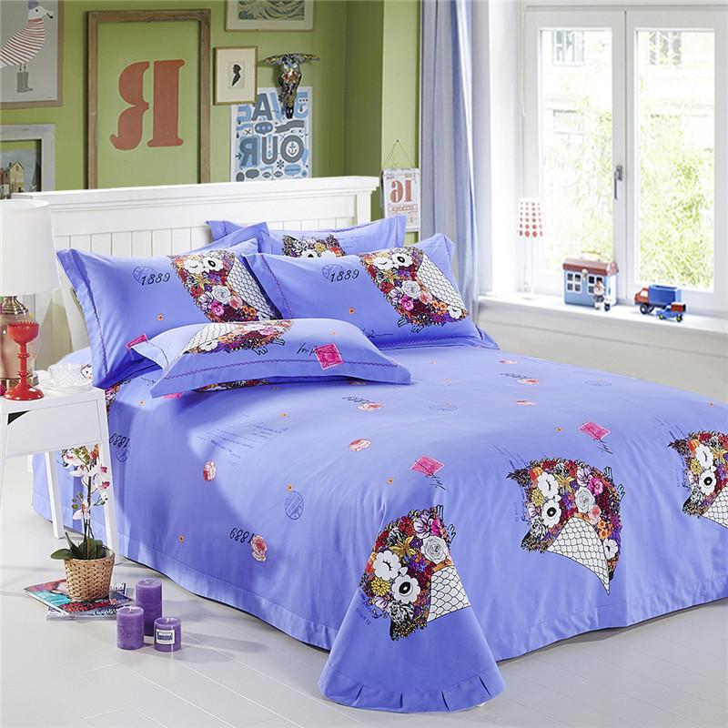 owl girls bedding sets king size queen twin children cartoon quilt duvet cover cotton bed sheet. Black Bedroom Furniture Sets. Home Design Ideas