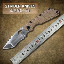 2015 alta calidad más nueva Strider D2 acero lámina TC4 titanium cuchillo plegable táctico de la supervivencia camping herramientas del envío libre