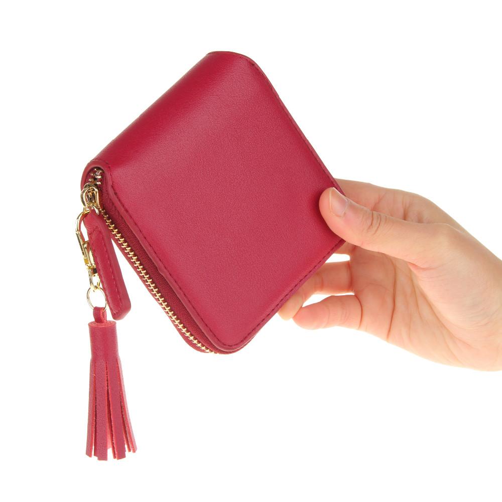 2016 модный дизайн женщины кошельки портмоне искусственная кожа дамы кисточка бумажник бронзировать муфты держателя карты