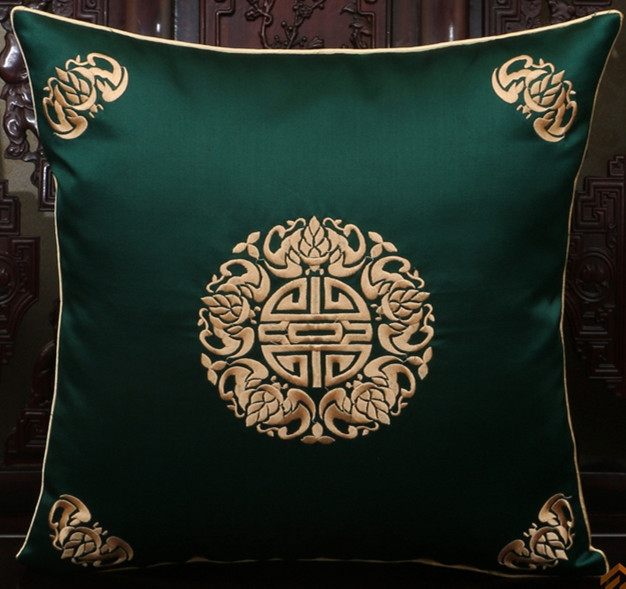 Large Embroidered Lucky Cushion Covers 17inch 20inch 24inch Luxury Chinese Ethnic style Tapestry Satin Bedside Pillow