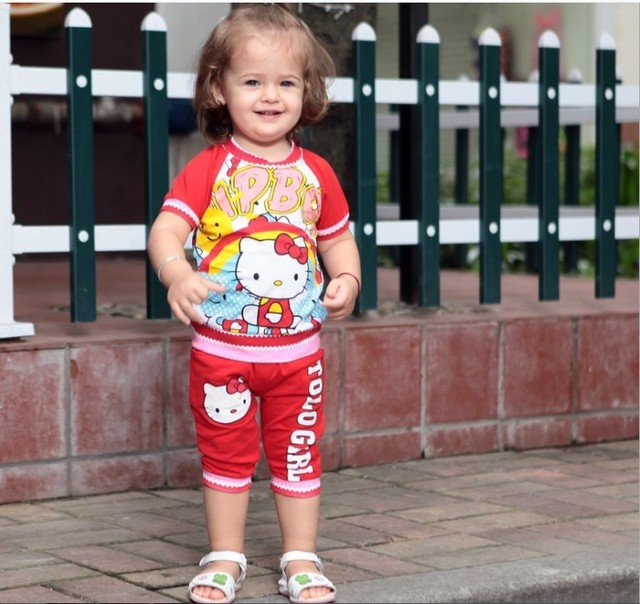 Wholesale Bulk Price New Arrival Red/ Rose Hello Kitty Short Sleeve Design Cute 2PCS Baby Clothing Set Summer Baby Wear Garment