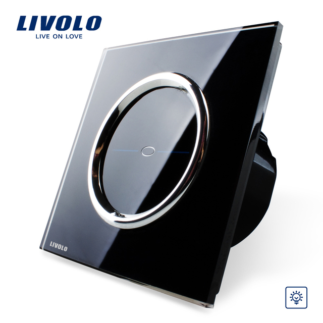 Livolo EU Standard Touch Switch,VL-C701D-CR2, Crystal Glass Panel, AC 110~250V Wall Light Touch Dimmer Switch+LED Indicator