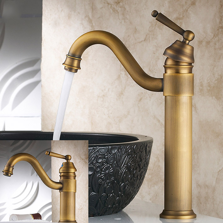 Vintage Style tall antique brass faucet bathroom sink mixer washbasin ...
