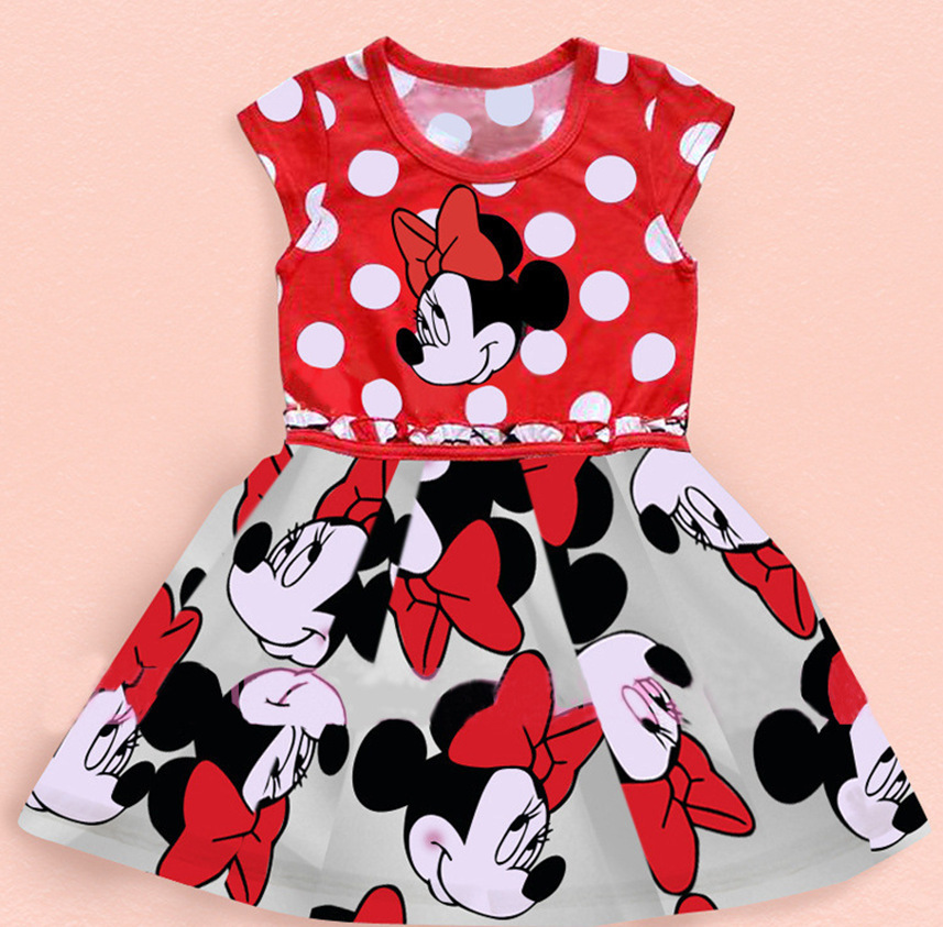 2015 Summer Style Girls Cartoon Mouse Dress Girl Cute Casual Dot Dress Baby Girls Clothes Dress Kids Clothes For 3-9 Years Girl(China (Mainland))