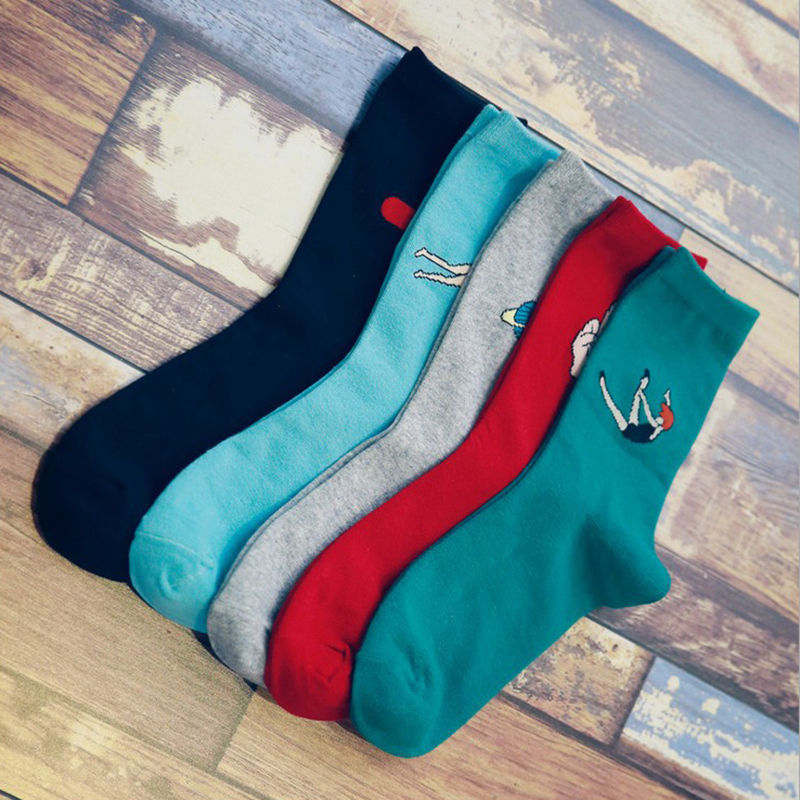 2016 Women Girls Harajuku chaussette Style Socks Colorful Casual Pill Star Swim Patterned Sock Cartoon Hip Hop Socks Calcetines