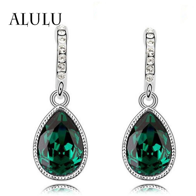 2016 New Fashion Austria Water Drop Silver Plated Earring Green Main Color For Women Luxury Austrian