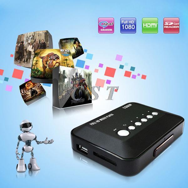 New Arrive MP018 Full HD 1080P Media Player USB/SD RMVB RM H.264 MKV AVI VOB with AV YUV HDMI Port Mini HD Player BOX 130224(China (Mainland))