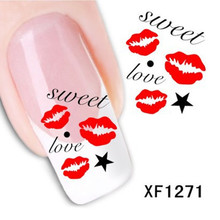 1 Sheet XF1271 3D Design Kiss Style DIY Watermark Nail Decals, Water Transfer Nail Stickers Manicure Tools