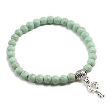 Nueva pulsera verde con cuentas de 6mm, pulsera con colgante de Ángel con llave cruzada de Metal dorado y plata para regalo de joyería para mujeres y hombres(China)