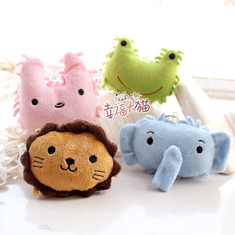 10pcs/lot Lovely clouds biological elephant / lion / Rabbit Plush chenille coral pendant screen wipe phone(China (Mainland))