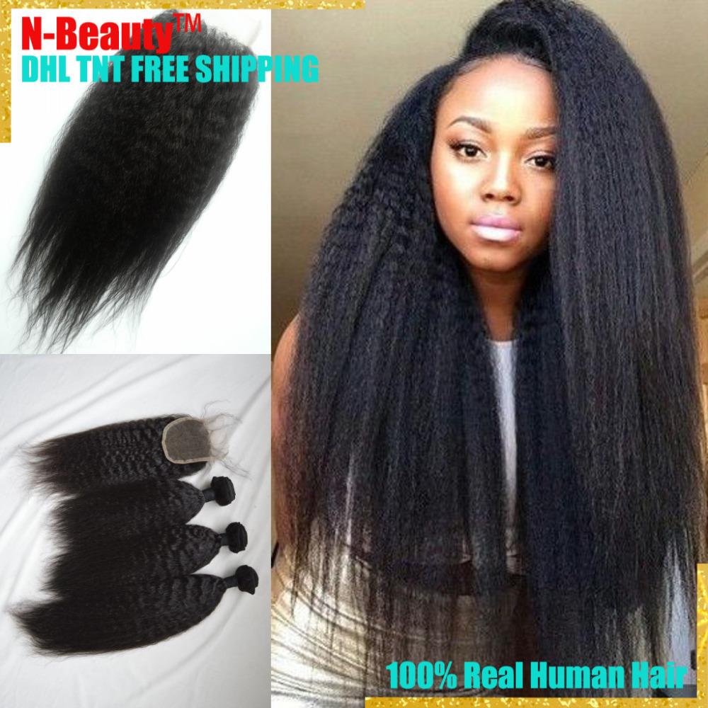 Brazilian Virgin Hair Straight Coarse Yaki 4Pcs/Lot Hair Weave Bundles with Closure Italian Yaki 8-36