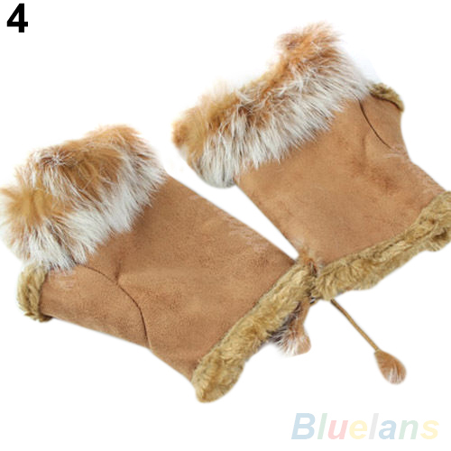 New Rabbit Fur Leather Lady Fingerless Suede Mittens Women Winter Wrist Gloves 1SOT